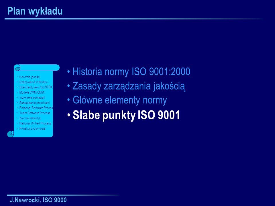 Słabe punkty ISO 9001 Plan wykładu Historia normy ISO 9001:2000