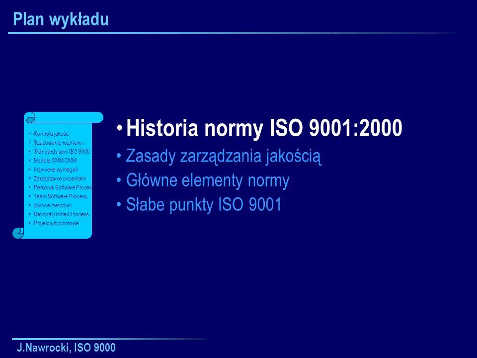 Historia normy ISO 9001:2000 Plan wykładu Zasady zarządzania jakością