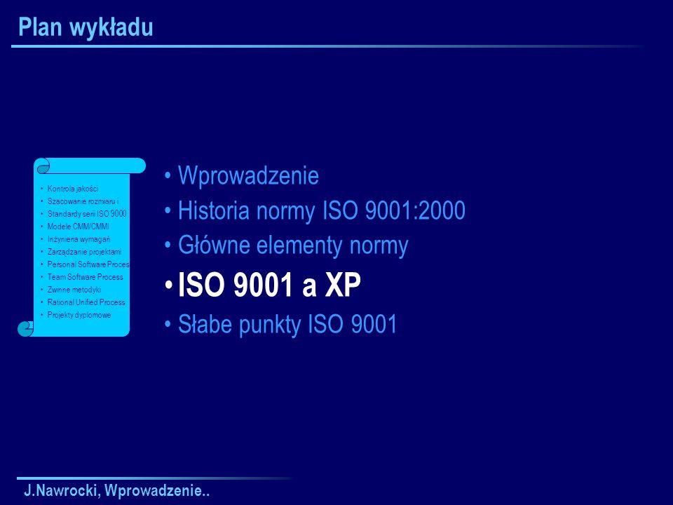ISO 9001 a XP Plan wykładu Wprowadzenie Historia normy ISO 9001:2000