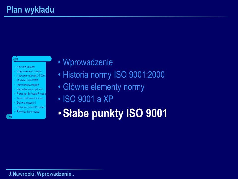 Słabe punkty ISO 9001 Plan wykładu Wprowadzenie