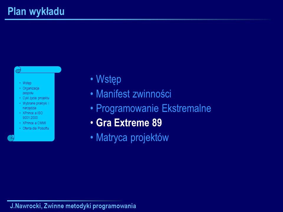 Programowanie Ekstremalne Gra Extreme 89 Matryca projektów