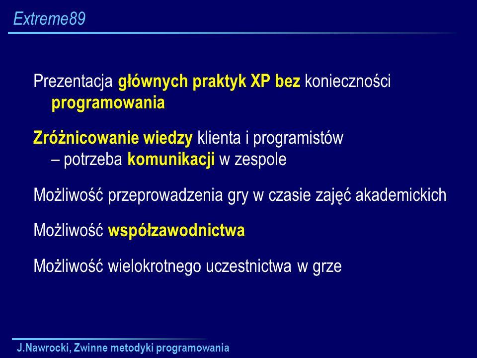 Prezentacja głównych praktyk XP bez konieczności programowania