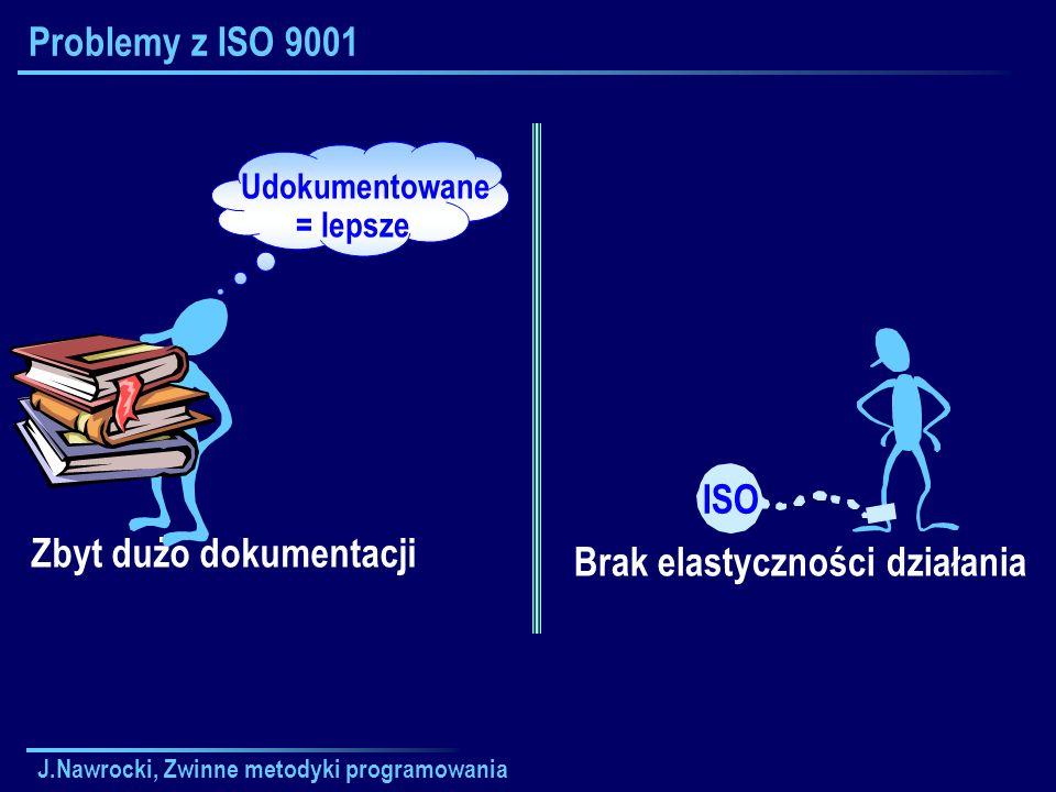 Zbyt dużo dokumentacji Brak elastyczności działania ISO