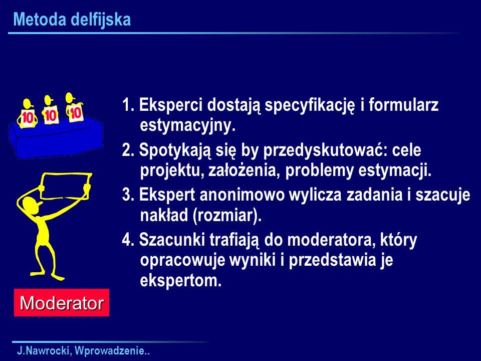 1. Eksperci dostają specyfikację i formularz estymacyjny.