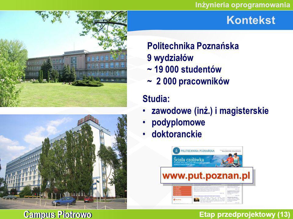 Kontekst Politechnika Poznańska 9 wydziałów ~ 19 000 studentów