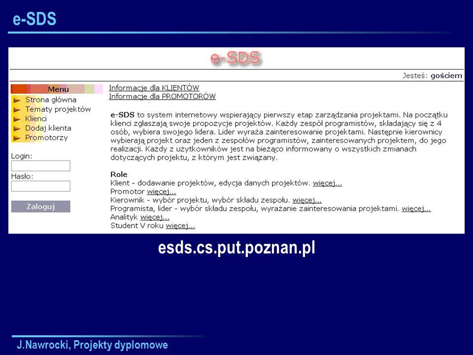 e-SDS esds.cs.put.poznan.pl J.Nawrocki, Projekty dyplomowe