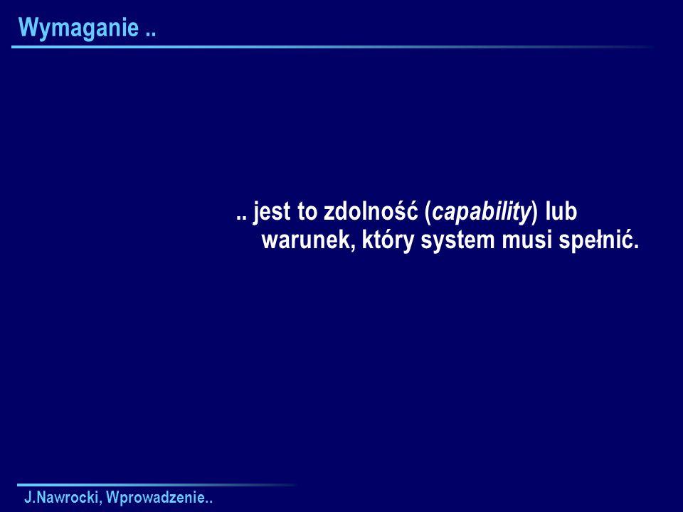 Wymaganie .. .. jest to zdolność (capability) lub warunek, który system musi spełnić.