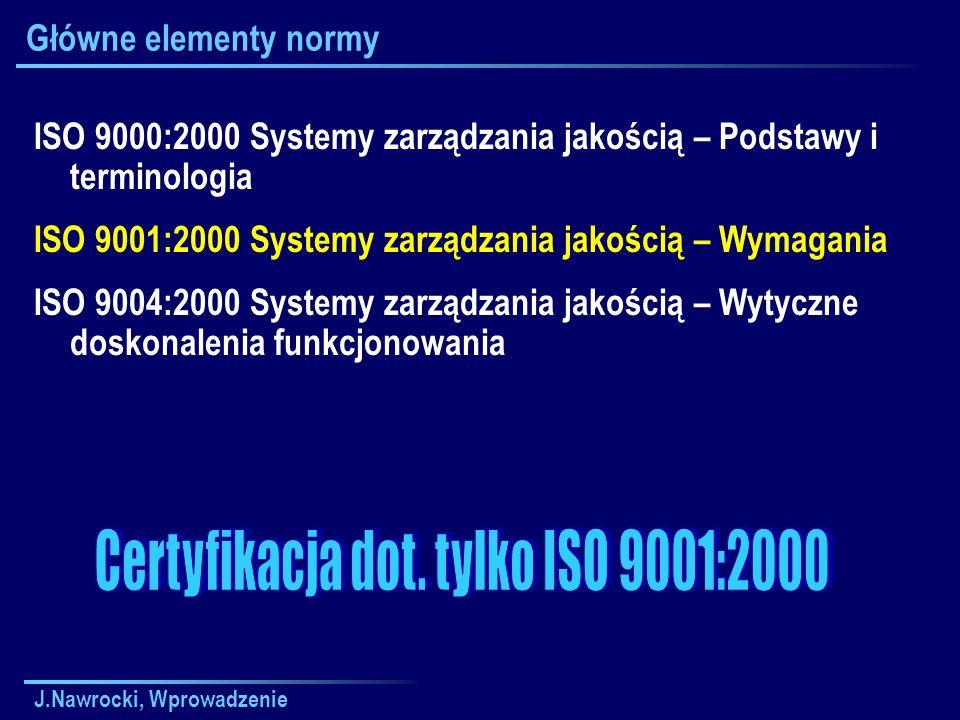 Certyfikacja dot. tylko ISO 9001:2000