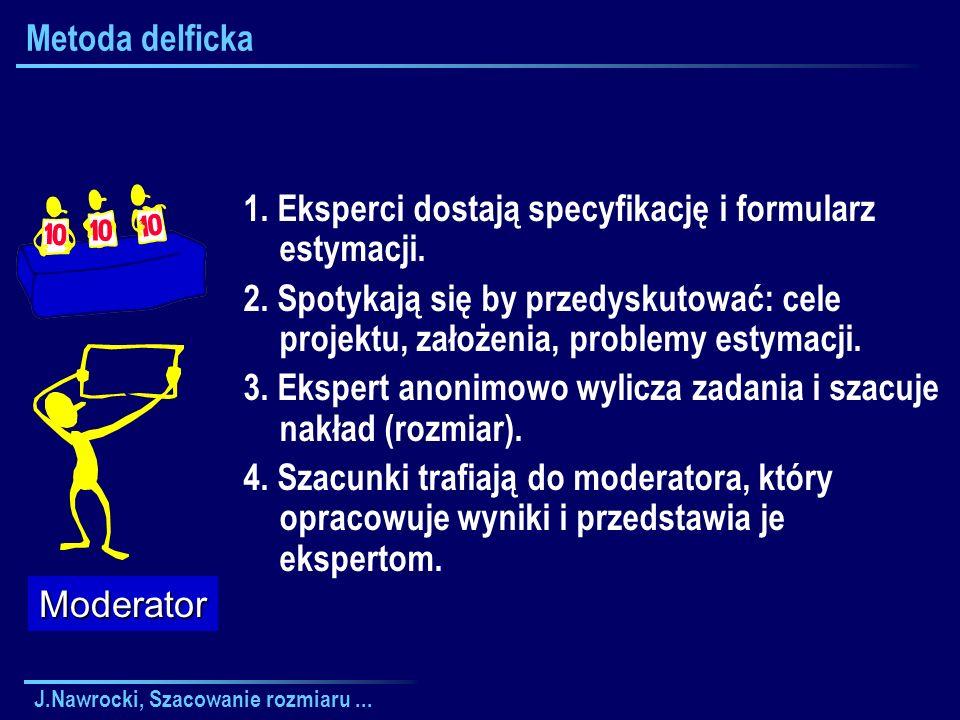 1. Eksperci dostają specyfikację i formularz estymacji.