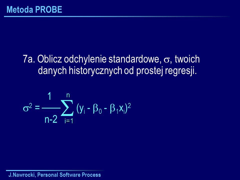 Metoda PROBE 7a. Oblicz odchylenie standardowe, , twoich danych historycznych od prostej regresji.