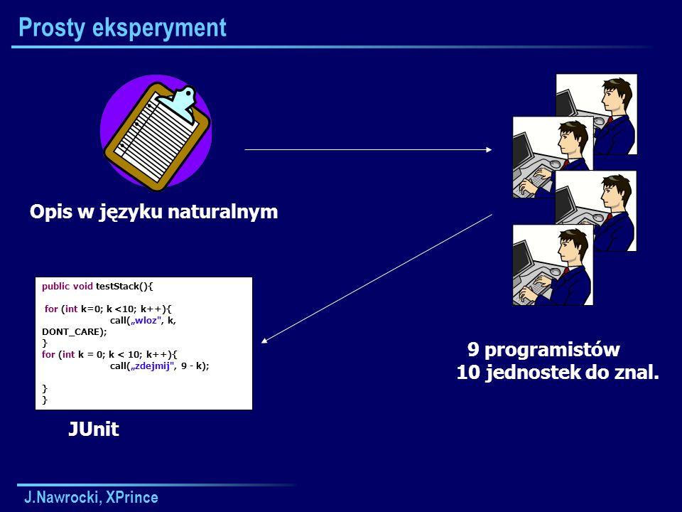Prosty eksperyment Opis w języku naturalnym 9 programistów
