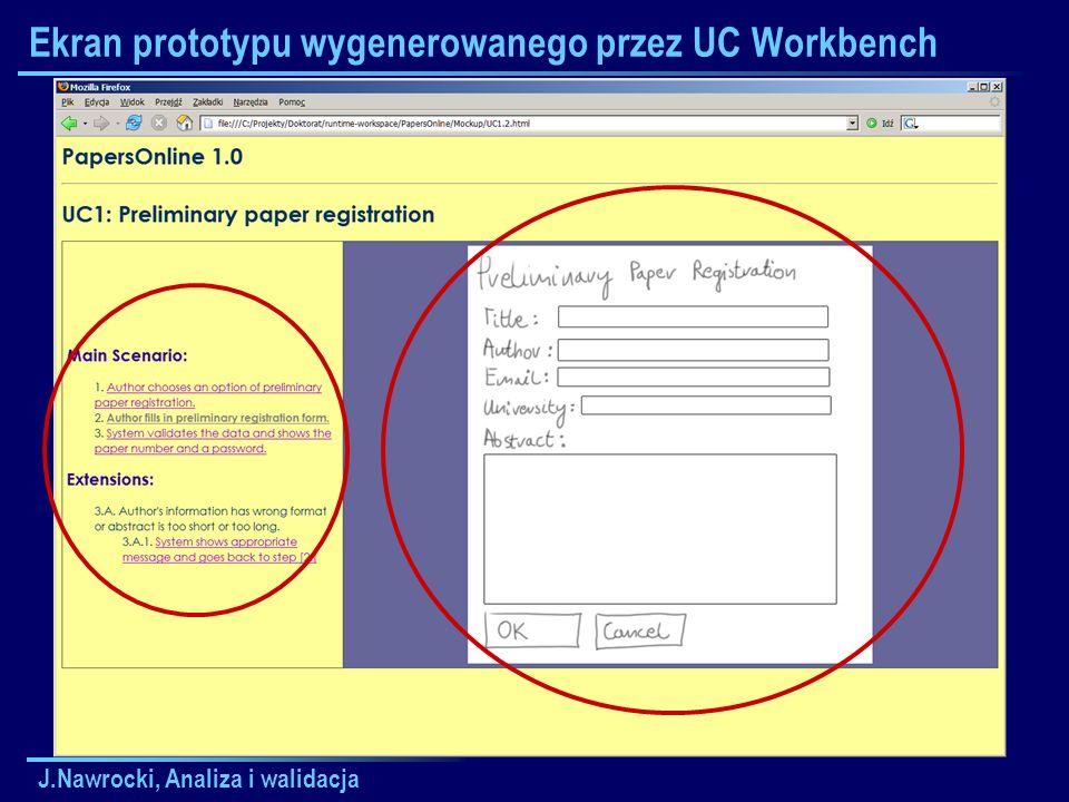 Ekran prototypu wygenerowanego przez UC Workbench