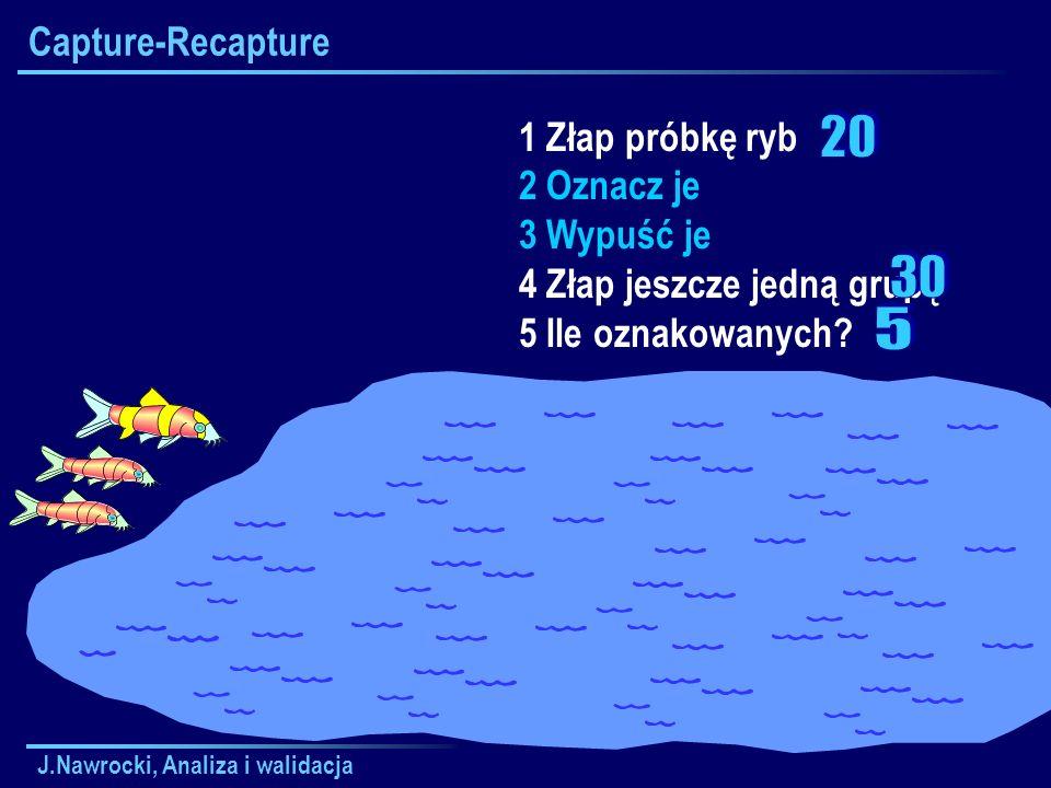 20 30 5 Capture-Recapture 1 Złap próbkę ryb 2 Oznacz je 3 Wypuść je