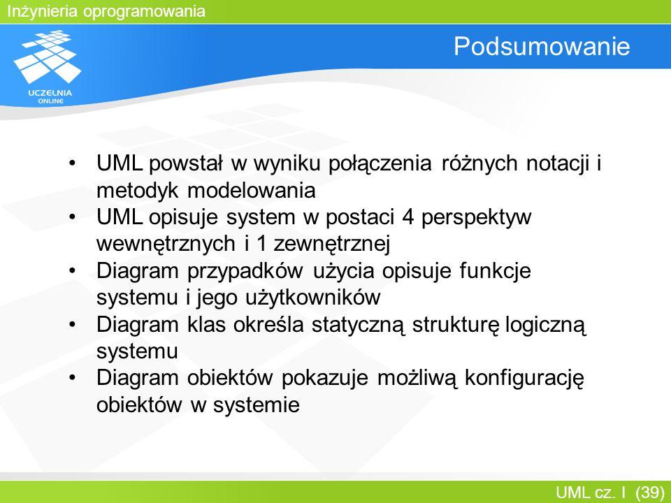 Bartosz Walter Podsumowanie. UML powstał w wyniku połączenia różnych notacji i metodyk modelowania.