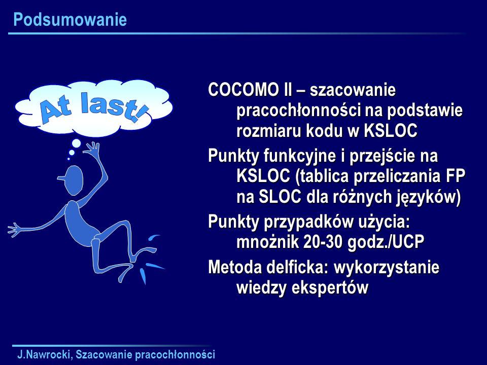 Podsumowanie COCOMO II – szacowanie pracochłonności na podstawie rozmiaru kodu w KSLOC.