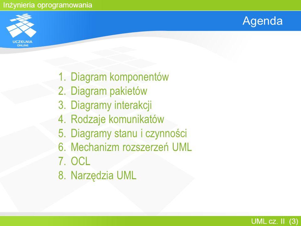 Diagramy stanu i czynności Mechanizm rozszerzeń UML OCL Narzędzia UML