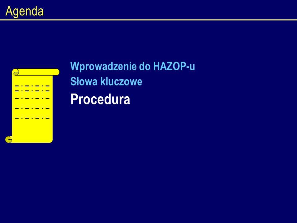 Agenda Wprowadzenie do HAZOP-u Słowa kluczowe Procedura