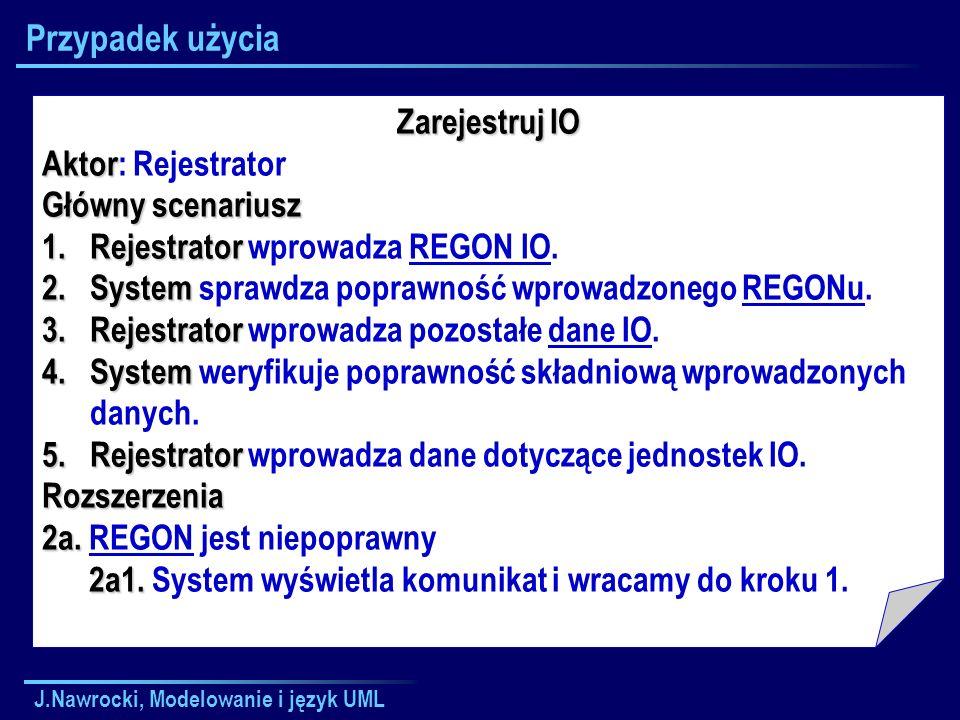 Przypadek użycia Zarejestruj IO Aktor: Rejestrator Główny scenariusz