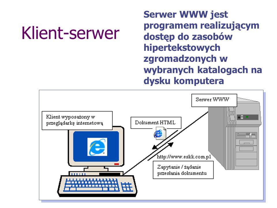 Serwer WWW jest programem realizującym dostęp do zasobów hipertekstowych zgromadzonych w wybranych katalogach na dysku komputera