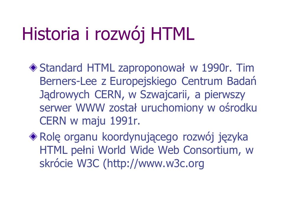 Historia i rozwój HTML