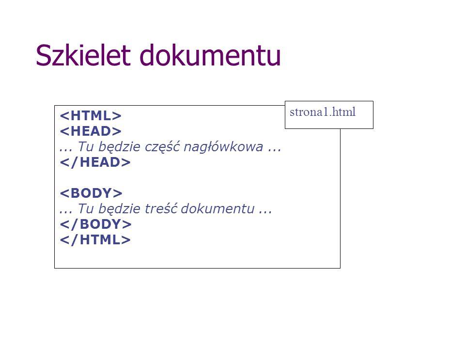 Szkielet dokumentu strona1.html