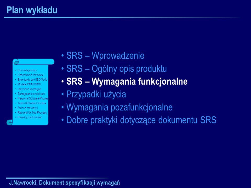 SRS – Ogólny opis produktu SRS – Wymagania funkcjonalne