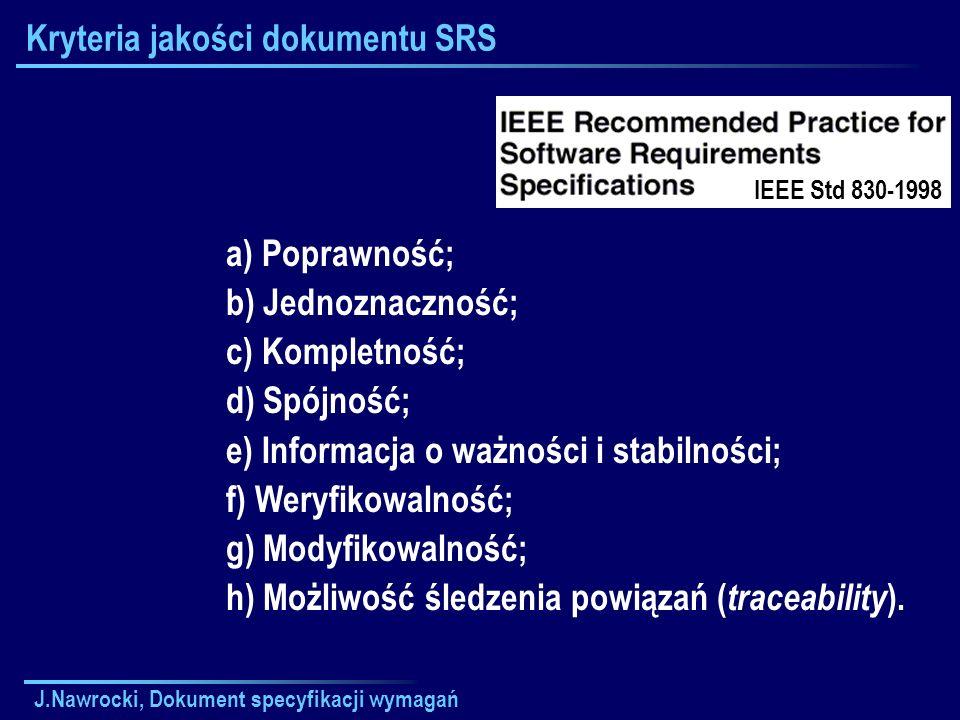 Kryteria jakości dokumentu SRS