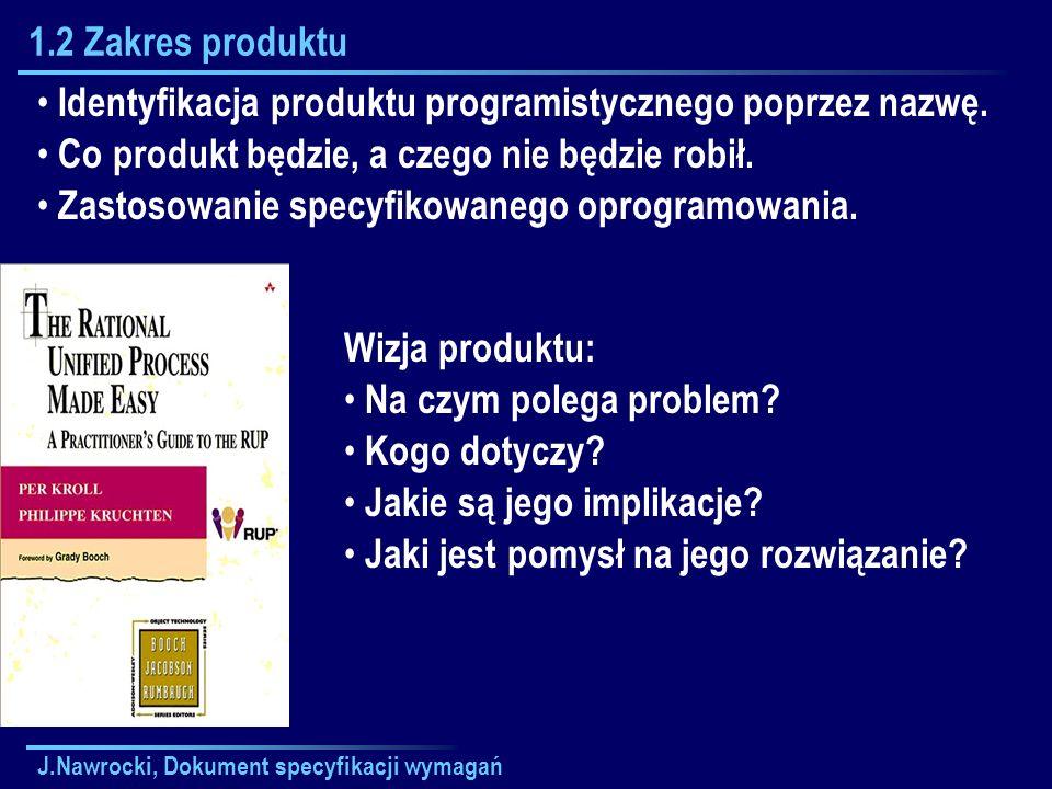Identyfikacja produktu programistycznego poprzez nazwę.