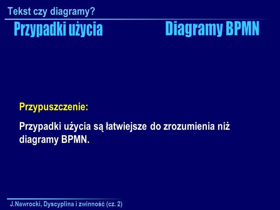 Przypadki użycia Diagramy BPMN Tekst czy diagramy Przypuszczenie: