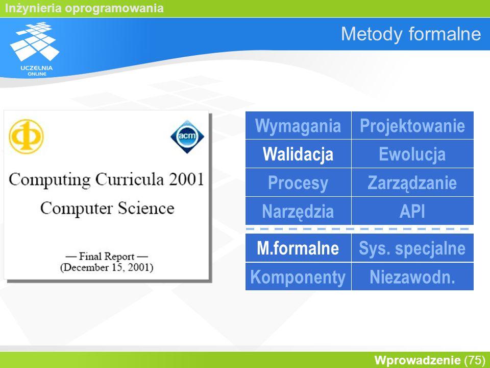 Metody formalne Wymagania Projektowanie Walidacja Ewolucja Procesy