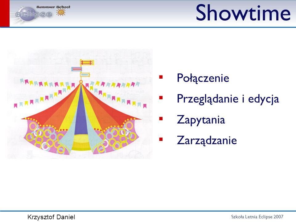 Showtime Połączenie Przeglądanie i edycja Zapytania Zarządzanie