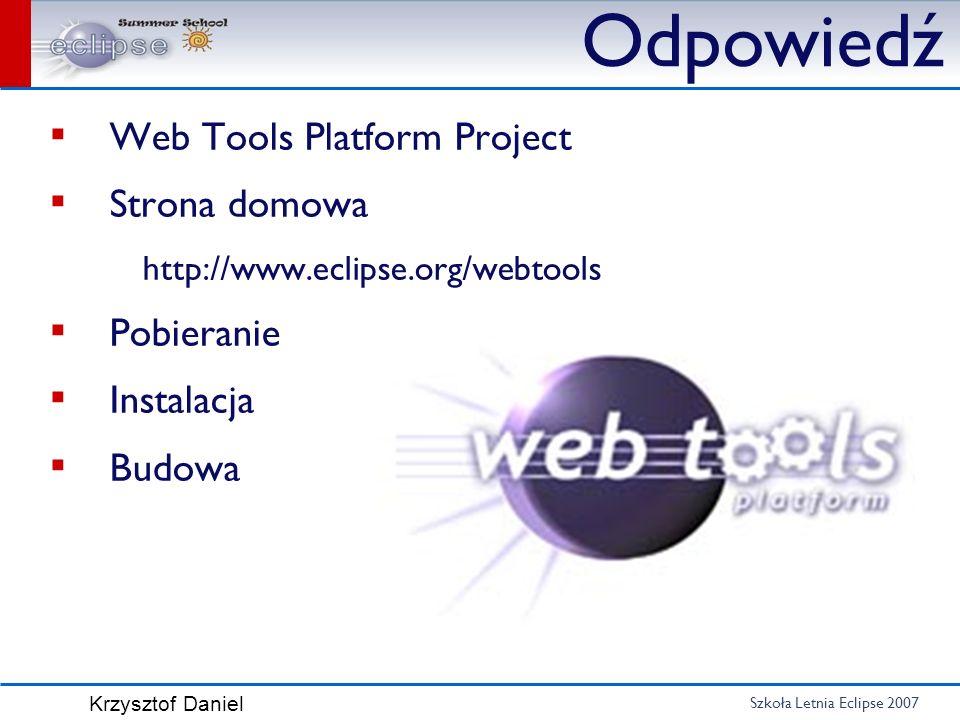 Odpowiedź Web Tools Platform Project Strona domowa Pobieranie