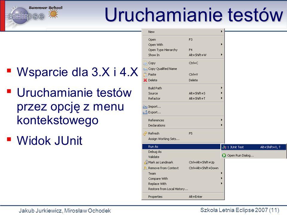 Uruchamianie testów Wsparcie dla 3.X i 4.X