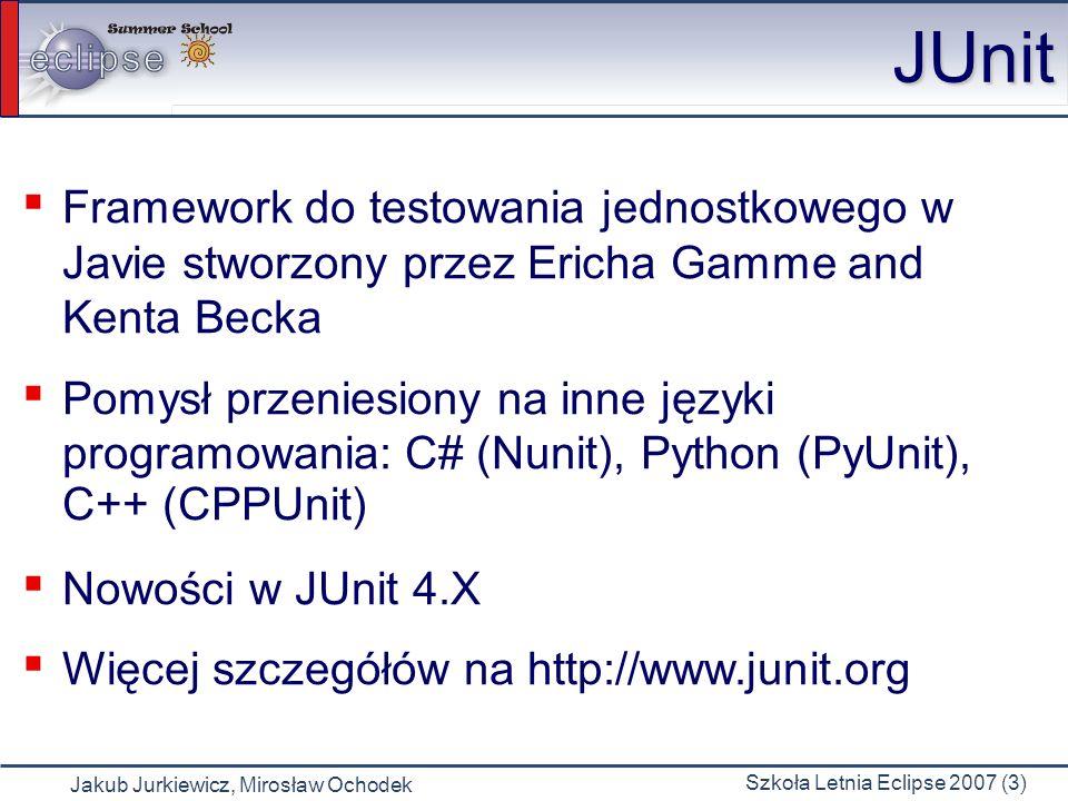 JUnit Framework do testowania jednostkowego w Javie stworzony przez Ericha Gamme and Kenta Becka.