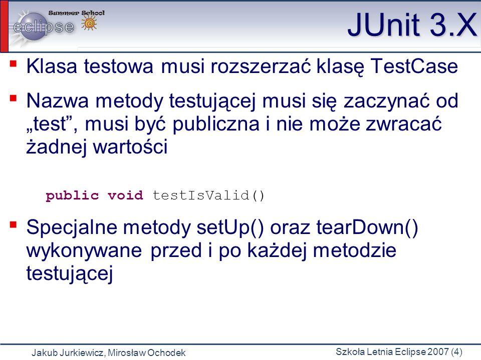JUnit 3.X Klasa testowa musi rozszerzać klasę TestCase