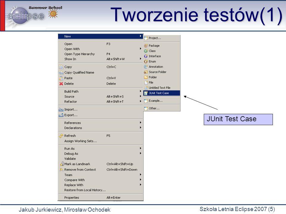 Tworzenie testów(1) JUnit Test Case