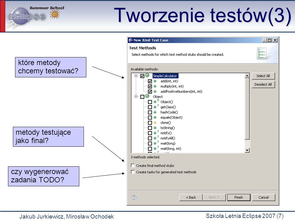 Tworzenie testów(3) które metody chcemy testować