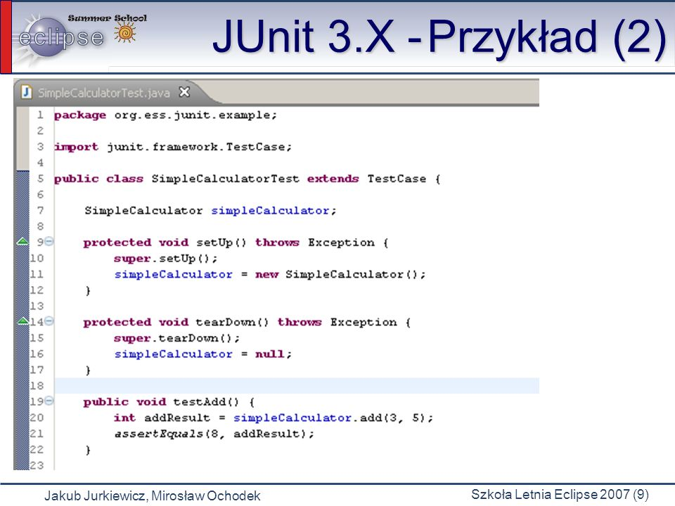 JUnit 3.X - Przykład (2)
