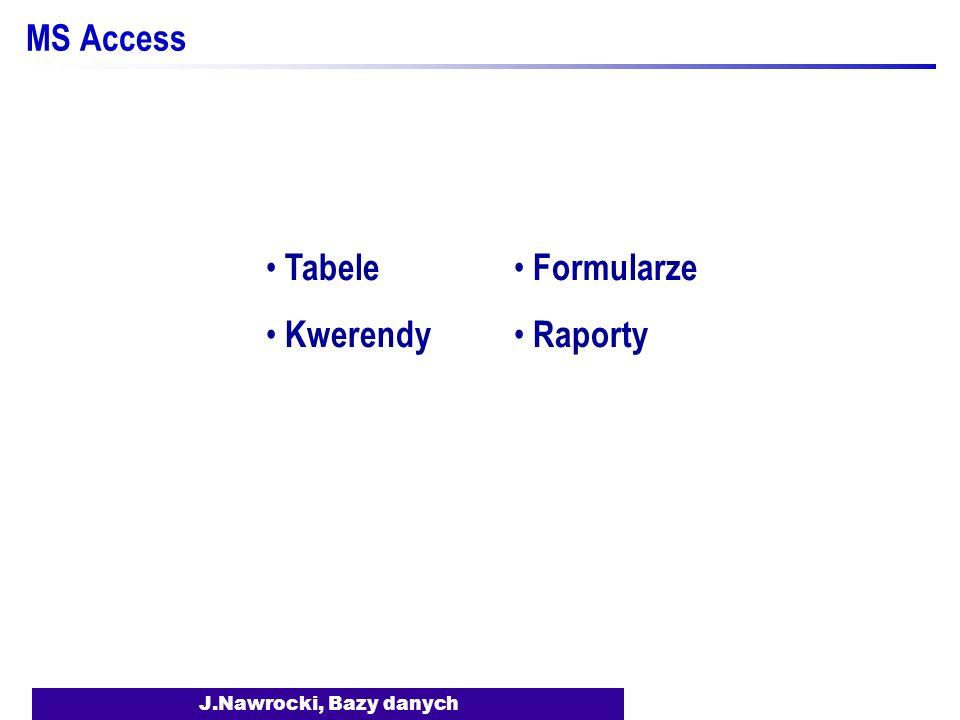 MS Access Tabele Kwerendy Formularze Raporty J.Nawrocki, Bazy danych