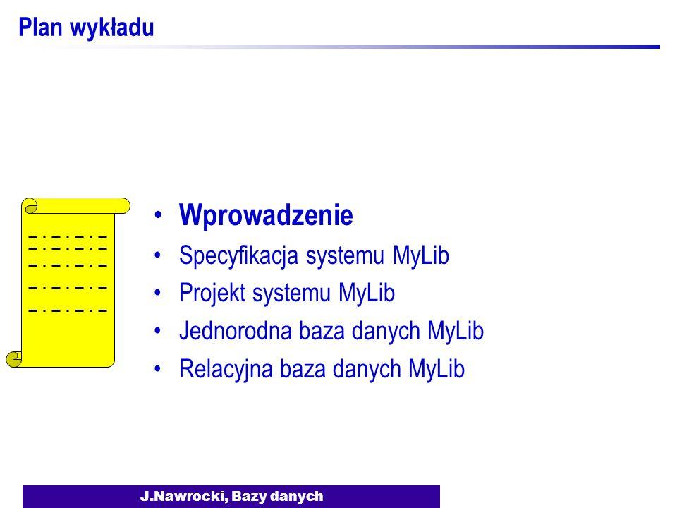 Wprowadzenie Plan wykładu Specyfikacja systemu MyLib