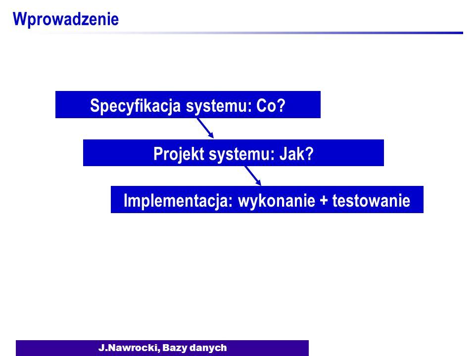 Specyfikacja systemu: Co Implementacja: wykonanie + testowanie