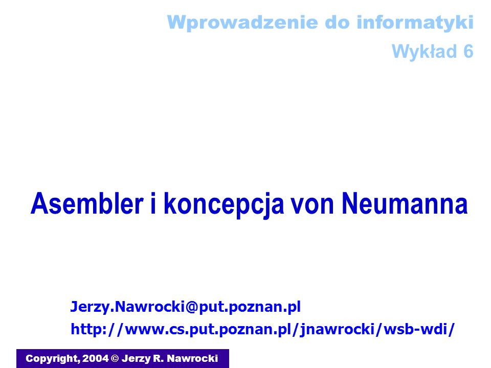 Asembler i koncepcja von Neumanna