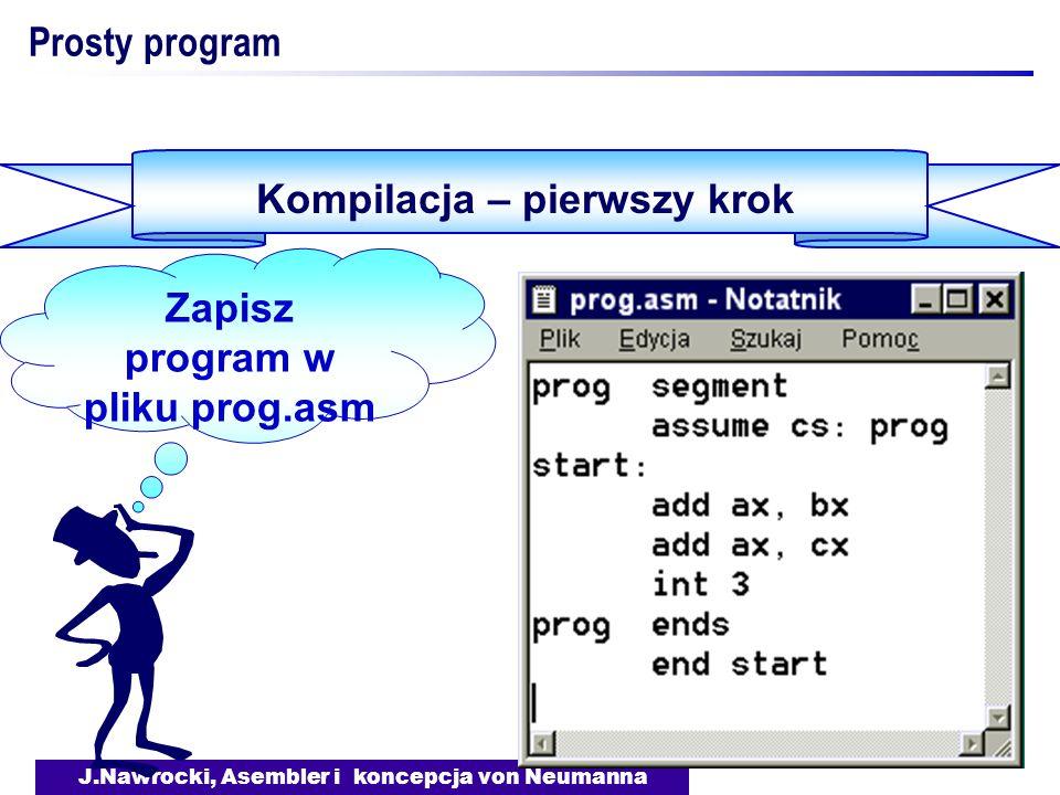 Kompilacja – pierwszy krok Zapisz program w pliku prog.asm