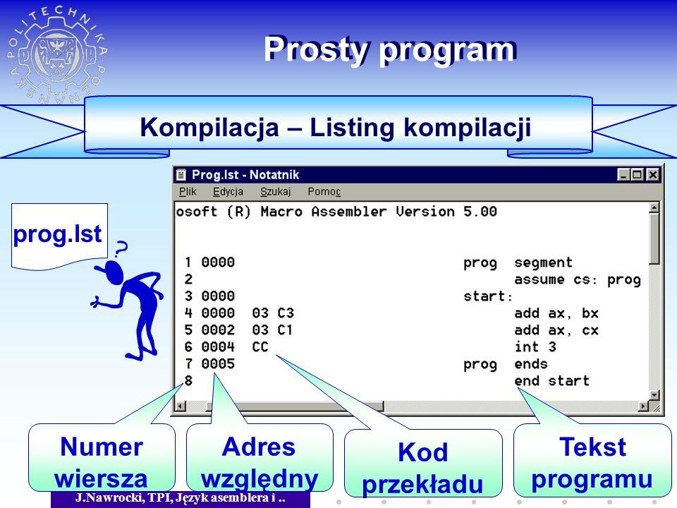 Kompilacja – Listing kompilacji J.Nawrocki, TPI, Język asemblera i ..