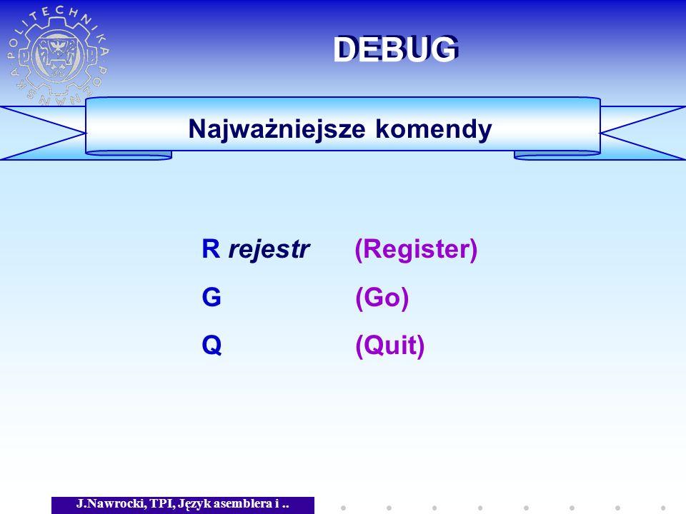 Najważniejsze komendy J.Nawrocki, TPI, Język asemblera i ..