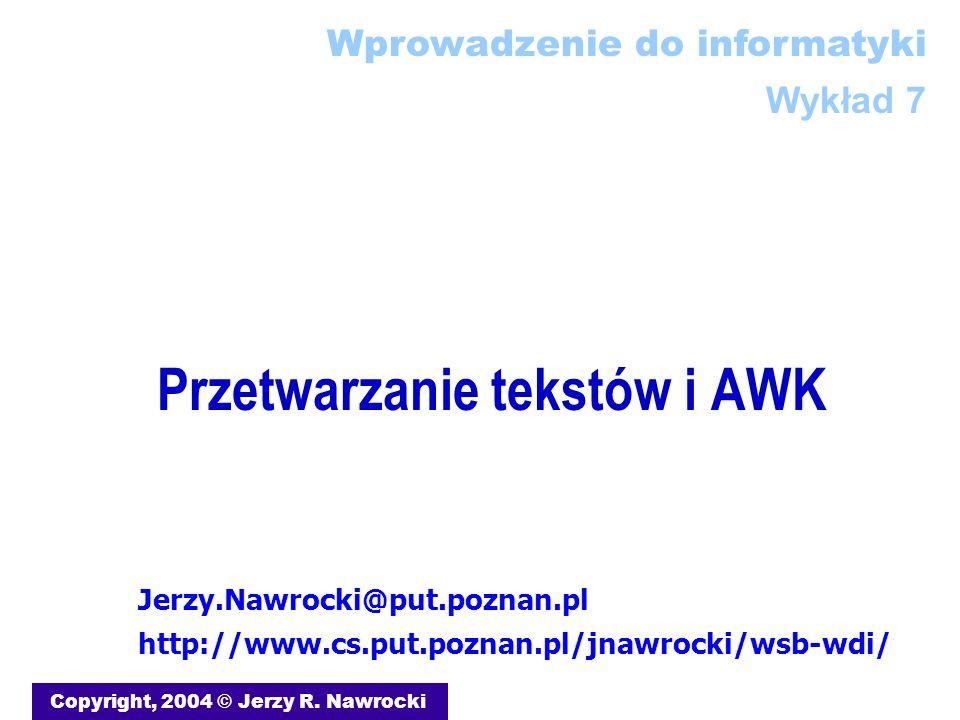 Przetwarzanie tekstów i AWK
