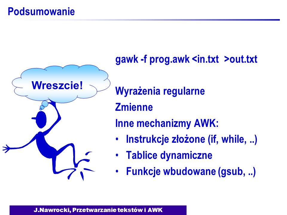 J.Nawrocki, Przetwarzanie tekstów i AWK
