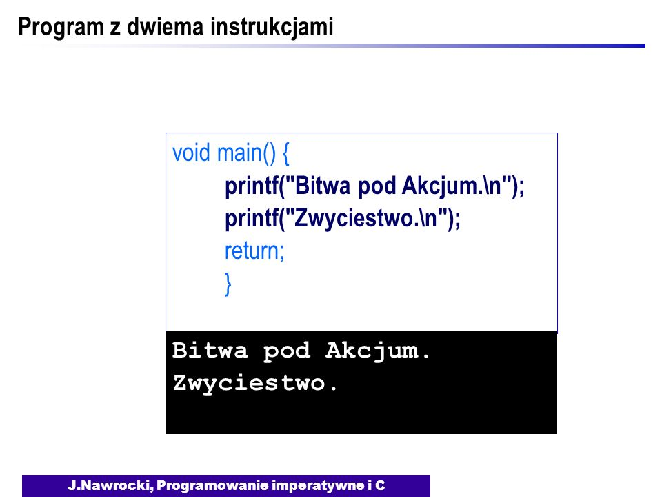 Program z dwiema instrukcjami