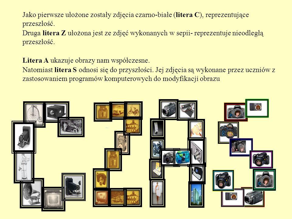 Jako pierwsze ułożone zostały zdjęcia czarno-białe (litera C), reprezentujące przeszłość.