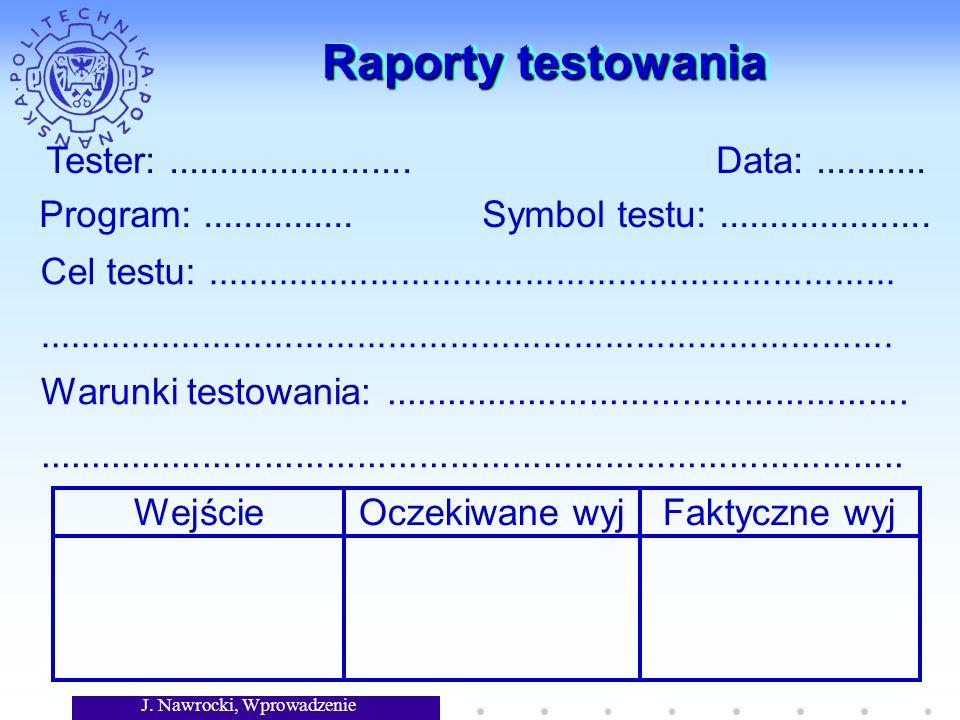 Raporty testowania Tester: ........................ Data: ...........